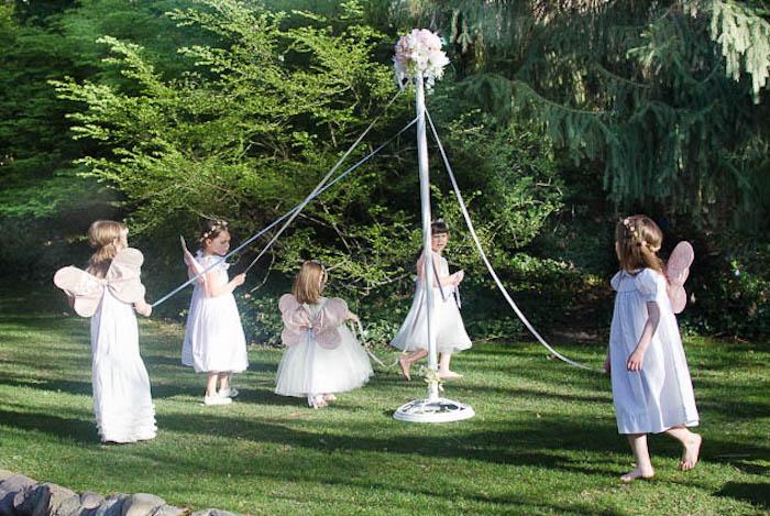 Maypole Dancing from a Pastel Fairy Themed Birthday Party via Kara's Party Ideas | KarasPartyIdeas.com (26)