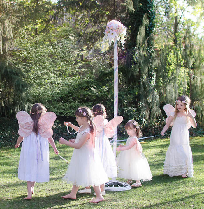 Pixies dancing around a Maypole from a Pastel Fairy Themed Birthday Party via Kara's Party Ideas | KarasPartyIdeas.com (23)