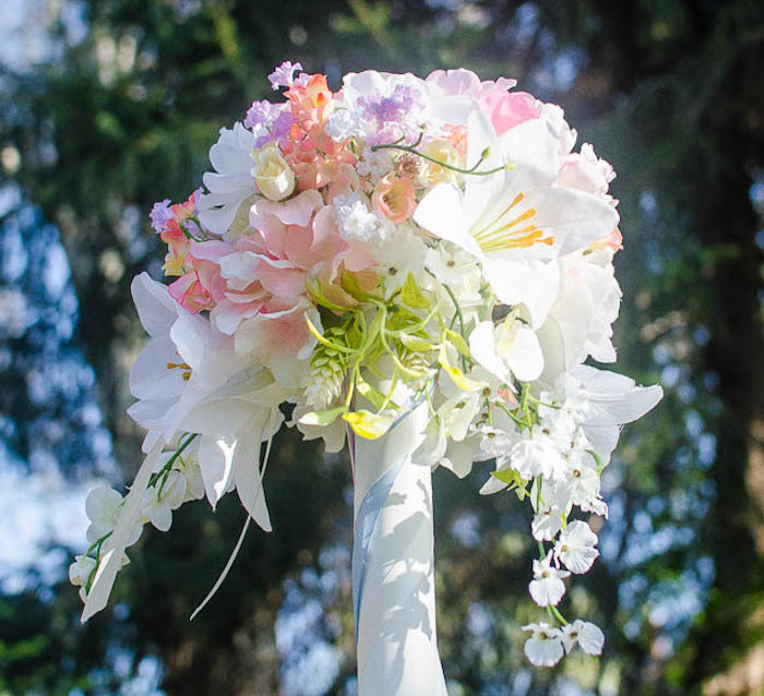 Floral Arrangement atop a Maypole from a Pastel Fairy Themed Birthday Party via Kara's Party Ideas | KarasPartyIdeas.com (21)