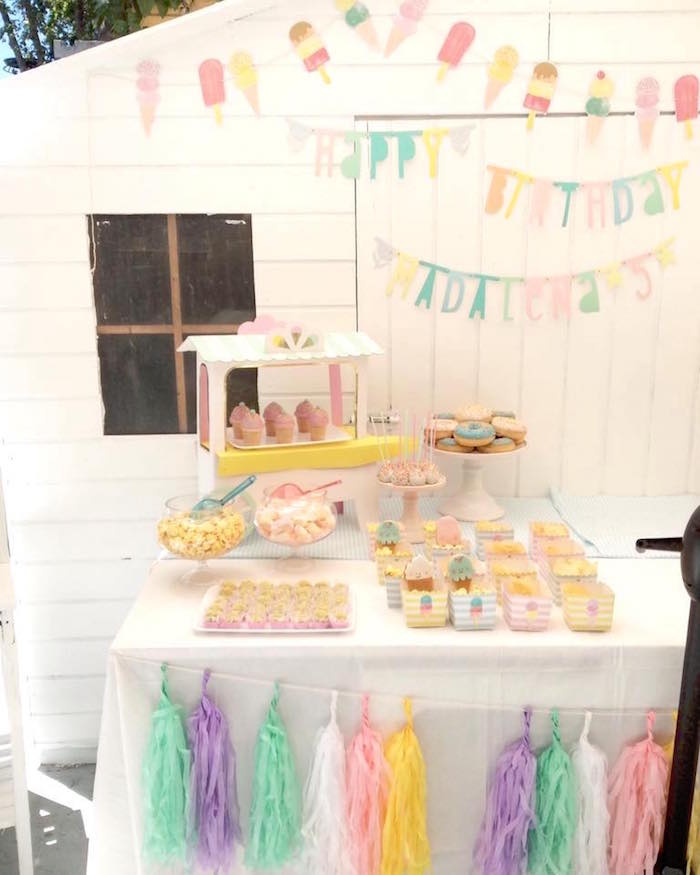 Sweet table from a Pastel Ice Cream Party via Kara's Party Ideas | KarasPartyIdeas.com (5)