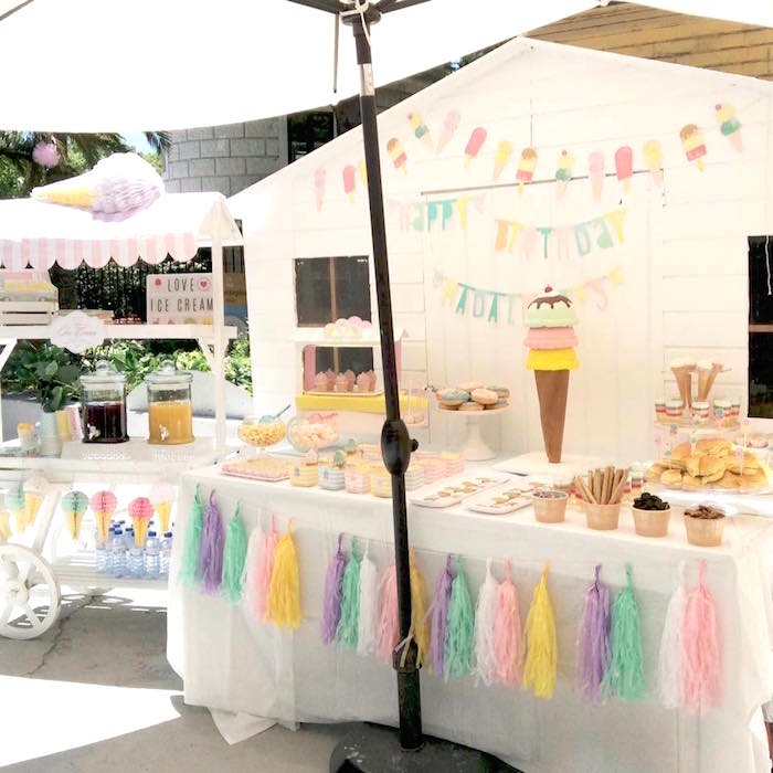 Party display from a Pastel Ice Cream Party via Kara's Party Ideas | KarasPartyIdeas.com (4)