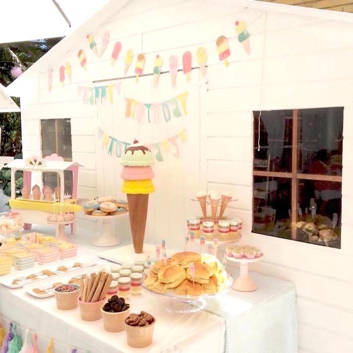 Dessert table from a Pastel Ice Cream Party via Kara's Party Ideas | KarasPartyIdeas.com (3)