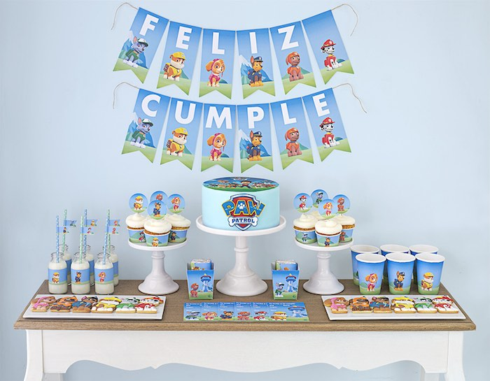 Dessert table from a Paw Patrol Birthday Party with FREE Printables via Kara's Party Ideas | KarasPartyIdeas.com (3)