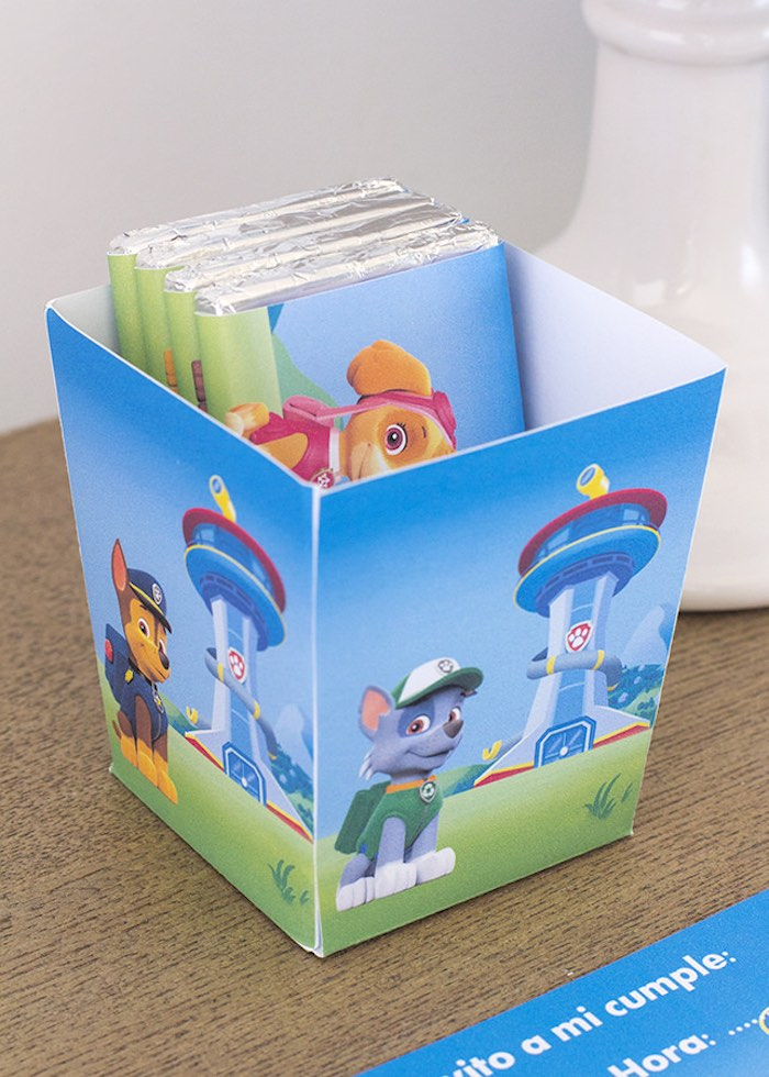 Favor box from a Paw Patrol Birthday Party with FREE Printables via Kara's Party Ideas | KarasPartyIdeas.com (13)