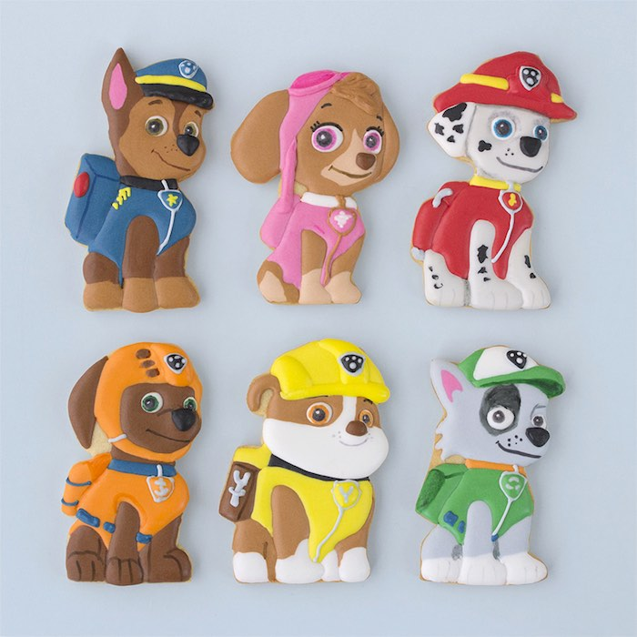Paw Patrol character cookies from a Paw Patrol Birthday Party with FREE Printables via Kara's Party Ideas | KarasPartyIdeas.com (9)