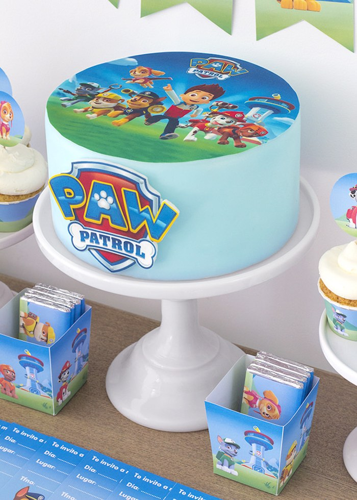 Cake From A Paw Patrol Birthday Party With FREE Printables Via Karas Ideas
