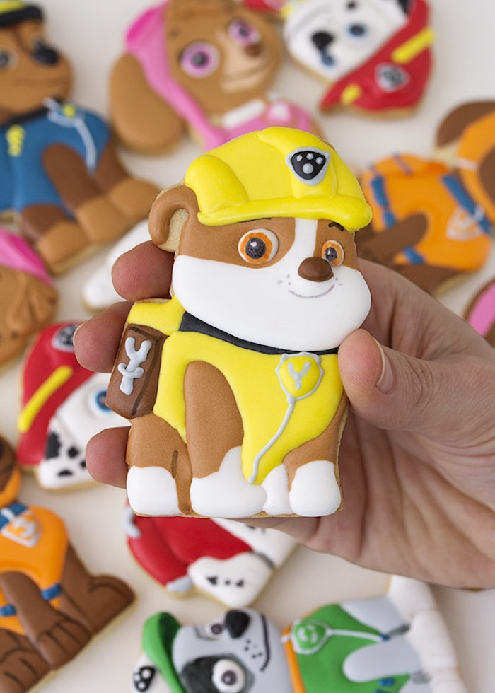 Paw Patrol Rubble character cookie from a Paw Patrol Birthday Party with FREE Printables via Kara's Party Ideas | KarasPartyIdeas.com (6)