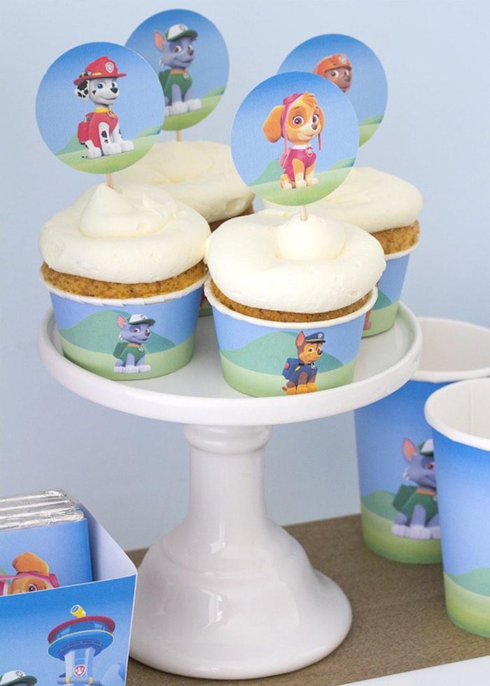 Paw Patrol cupcakes from a Paw Patrol Birthday Party with FREE Printables via Kara's Party Ideas | KarasPartyIdeas.com (5)