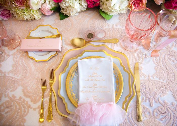 Place setting from a Pink Tutu Cute Themed Ballerina Baby Shower via Kara's Party Ideas | KarasPartyIdeas.com - The Place for All Things Party! (49)