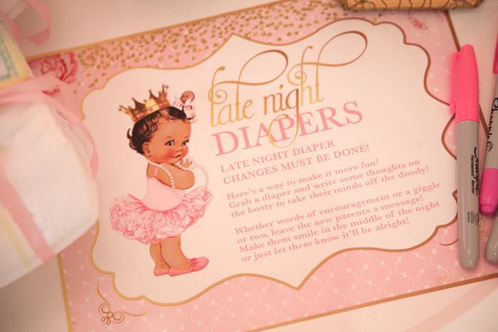 """Late night diapers"" activity + party signage from a Pink Tutu Cute Themed Ballerina Baby Shower via Kara's Party Ideas 