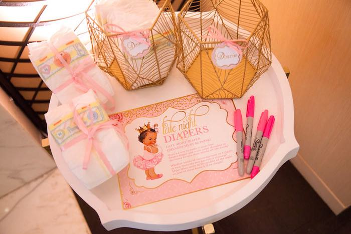 """Late night diapers"" activity table from a Pink Tutu Cute Themed Ballerina Baby Shower via Kara's Party Ideas 