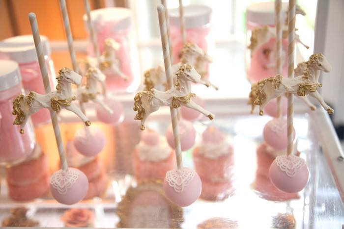 Carousel cake pops from a Pink Tutu Cute Themed Ballerina Baby Shower via Kara's Party Ideas | KarasPartyIdeas.com - The Place for All Things Party! (28)