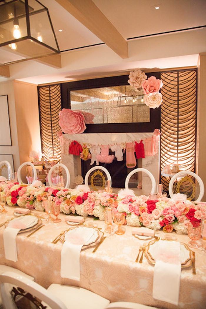 dining table from a pink tutu cute themed ballerina baby shower via
