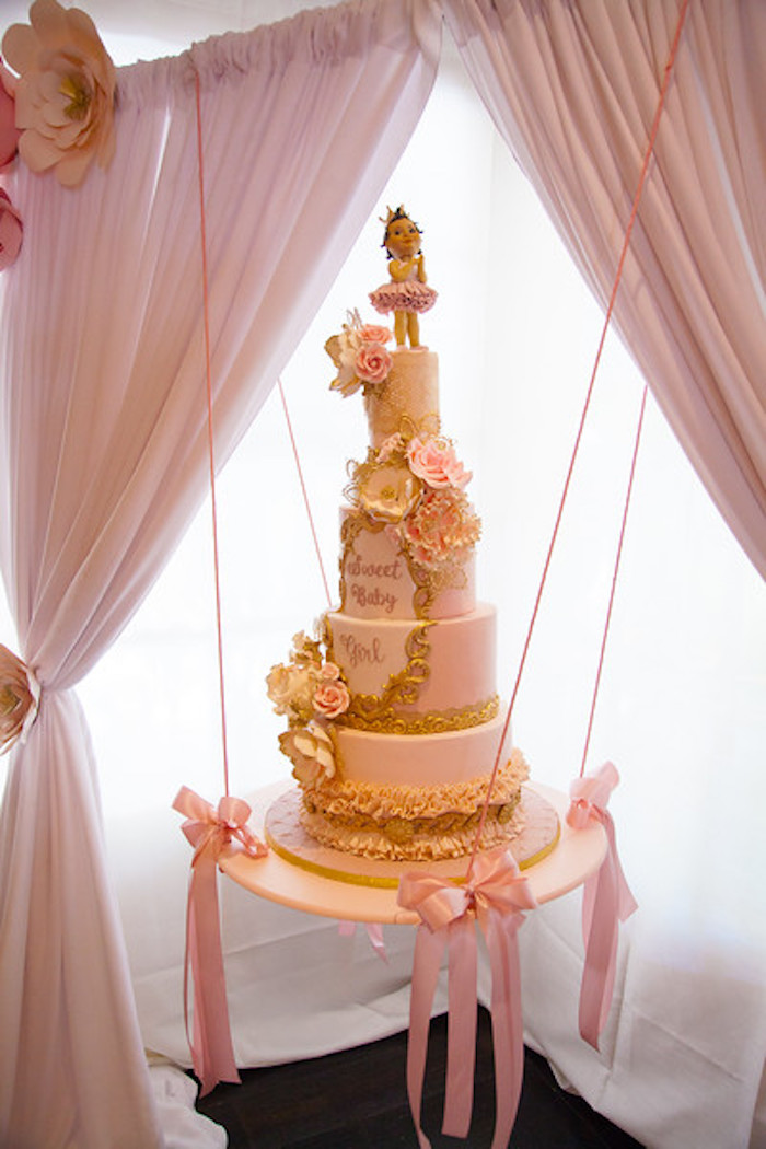 Gorgeous suspended cake from a Pink Tutu Cute Themed Ballerina Baby Shower via Kara's Party Ideas | KarasPartyIdeas.com - The Place for All Things Party! (56)