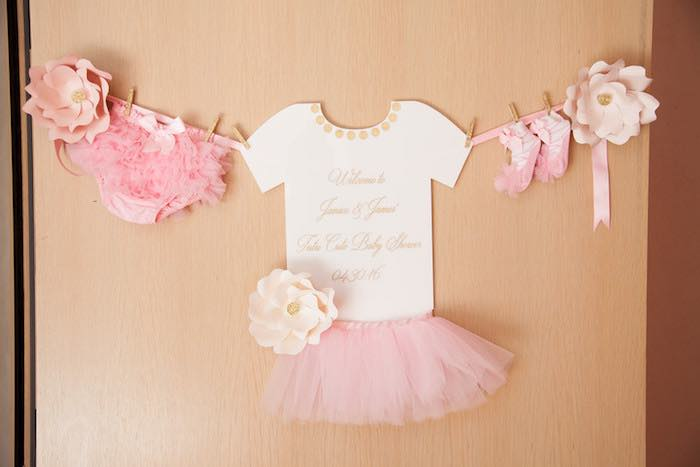 Ballerina Banner From A Pink Tutu Cute Themed Ballerina Baby Shower Via  Karau0027s Party Ideas |