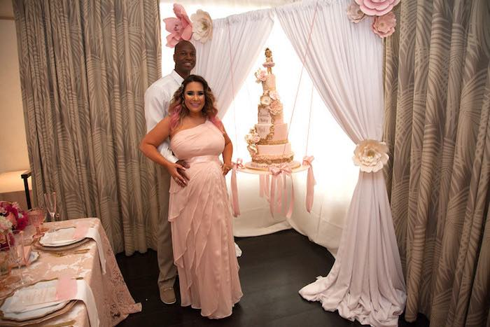 Karas Party Ideas Suspended Cake Display From A Pink Tutu