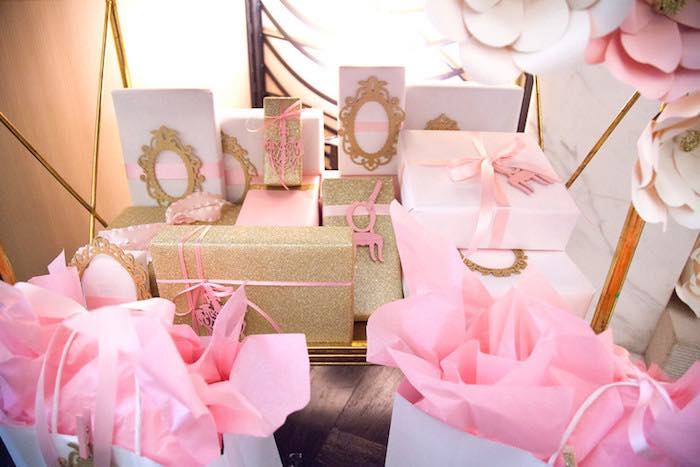 Wrapped presents from a Pink Tutu Cute Themed Ballerina Baby Shower via Kara's Party Ideas | KarasPartyIdeas.com - The Place for All Things Party! (5)