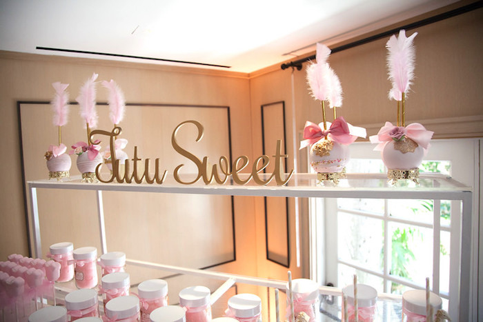 Sweet display from a Pink Tutu Cute Themed Ballerina Baby Shower via Kara's Party Ideas | KarasPartyIdeas.com - The Place for All Things Party! (2)