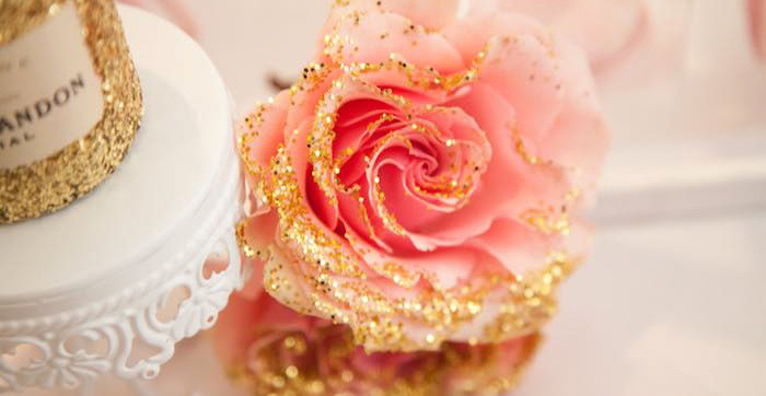 Hand-dipped gold glitter rose from a Pink Tutu Cute Themed Ballerina Baby Shower via Kara's Party Ideas | KarasPartyIdeas.com - The Place for All Things Party! (1)