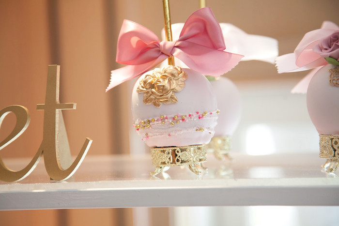 gourmet apple from a pink tutu cute themed ballerina baby shower via