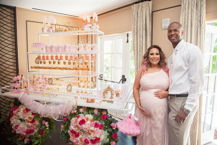 """Tutu sweet"" dessert cart + parents to be from a Pink Tutu Cute Themed Ballerina Baby Shower via Kara's Party Ideas 