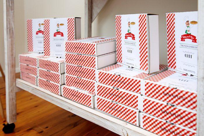 Custom pizza favor boxes from a Pizzeria Themed Birthday Party via Kara's Party Ideas KarasPartyIdeas.com (33)