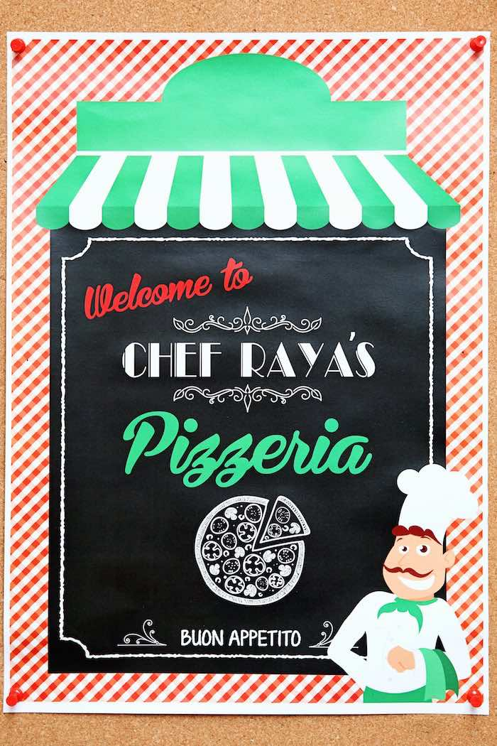 Welcome sign + party signage from a Pizzeria Themed Birthday Party via Kara's Party Ideas KarasPartyIdeas.com (31)