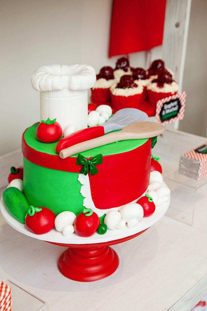 Adorable Pizzeria-inspired birthday cake from a Pizzeria Themed Birthday Party via Kara's Party Ideas KarasPartyIdeas.com (25)
