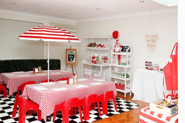 Party setup from a Pizzeria Themed Birthday Party via Kara's Party Ideas KarasPartyIdeas.com (43)