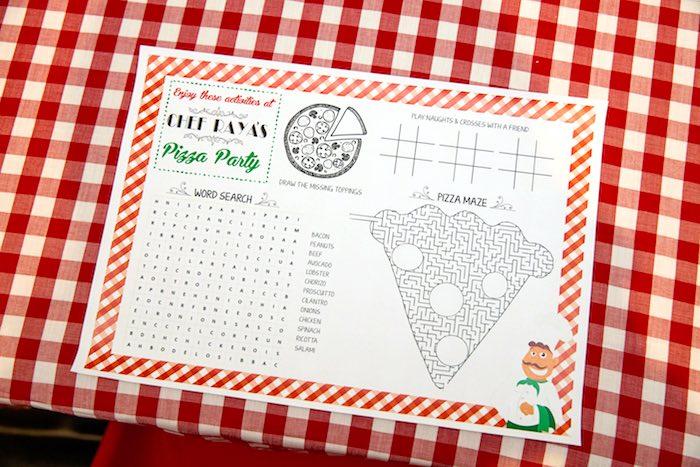 Activity placemat from a Pizzeria Themed Birthday Party via Kara's Party Ideas KarasPartyIdeas.com (23)
