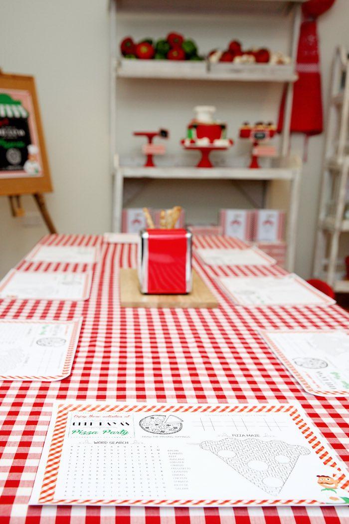 Dining tablescape from a Pizzeria Themed Birthday Party via Kara's Party Ideas KarasPartyIdeas.com (22)
