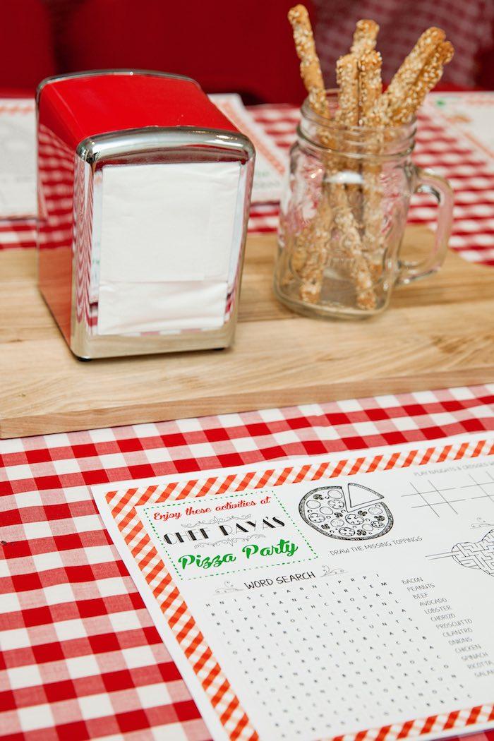 Dining table details from a Pizzeria Themed Birthday Party via Kara's Party Ideas KarasPartyIdeas.com (21)