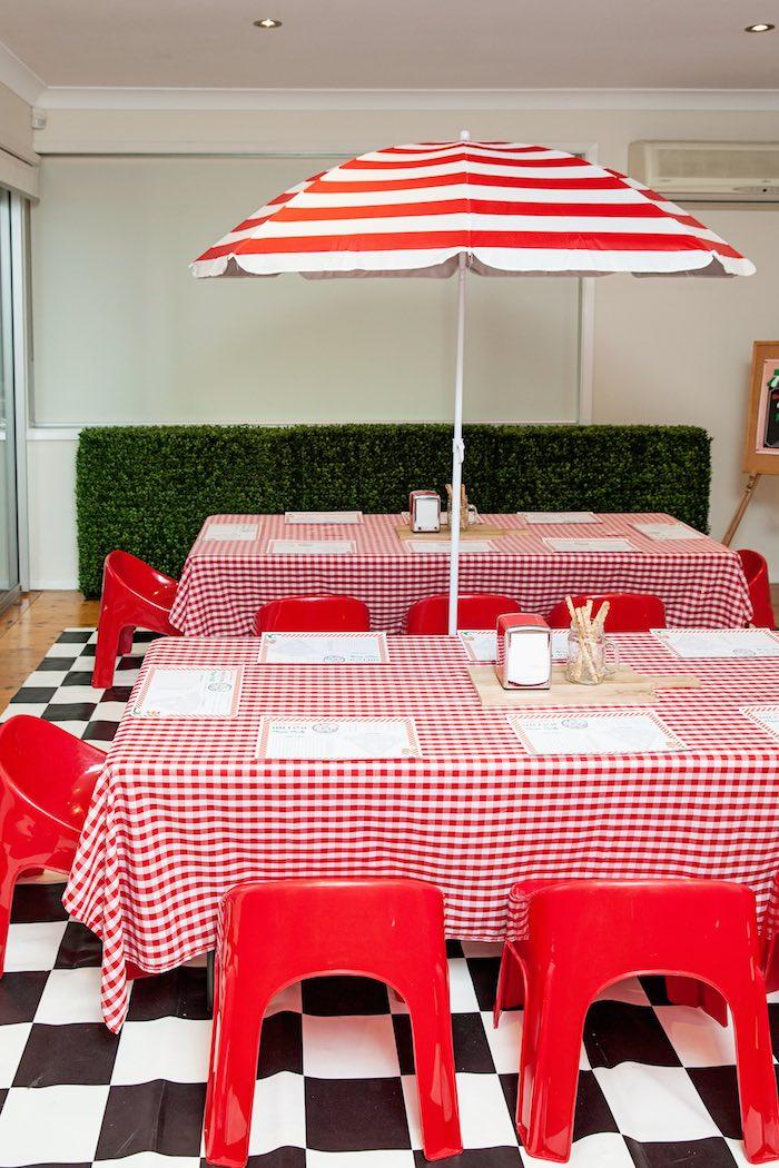 Guest tables from a Pizzeria Themed Birthday Party via Kara's Party Ideas KarasPartyIdeas.com (20)
