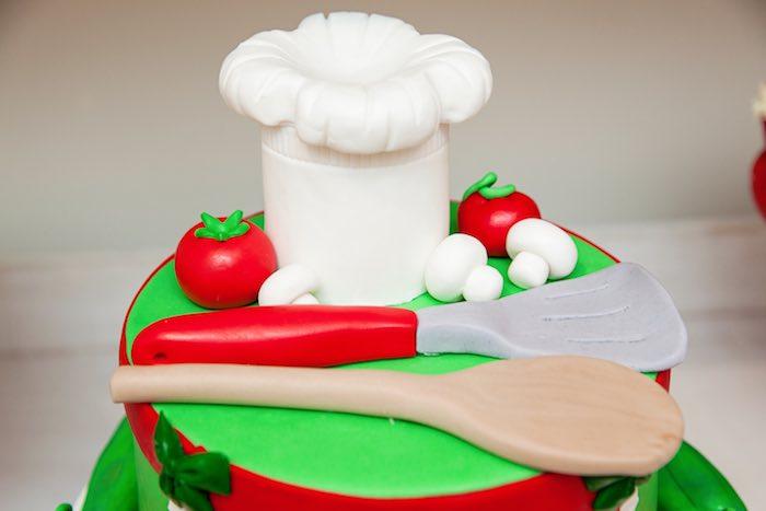Top of a birthday cake from a Pizzeria Themed Birthday Party via Kara's Party Ideas KarasPartyIdeas.com (18)