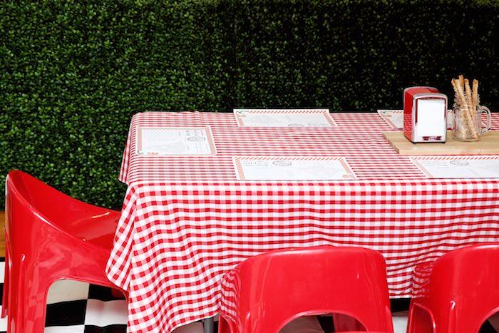 Guest table from a Pizzeria Themed Birthday Party via Kara's Party Ideas KarasPartyIdeas.com (12)