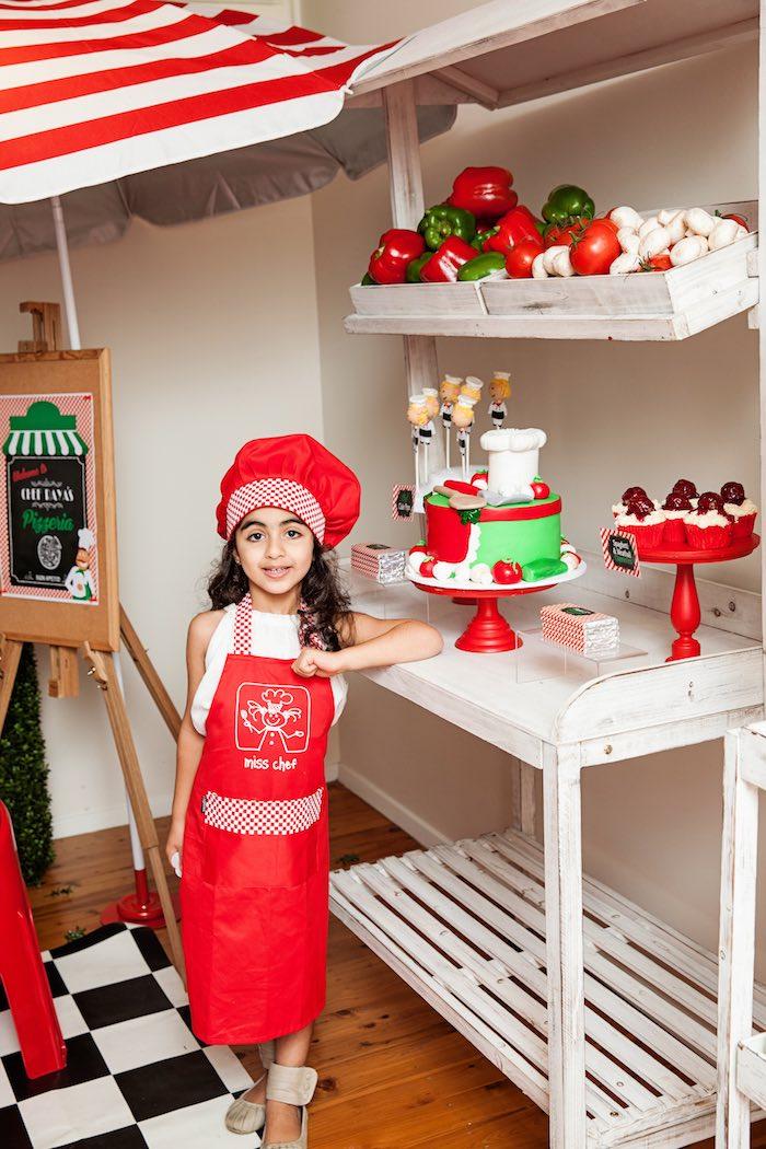 Birthday girl from a Pizzeria Themed Birthday Party via Kara's Party Ideas KarasPartyIdeas.com (4)