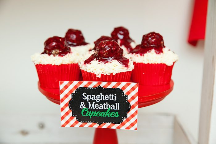 Spaghetti & meatball-inspired cupcakes from a Pizzeria Themed Birthday Party via Kara's Party Ideas KarasPartyIdeas.com (39)