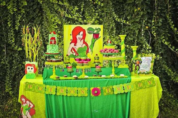 Dessert table from a Poison Ivy Birthday Party via Kara's Party Ideas | KarasPartyIdeas.com (26)