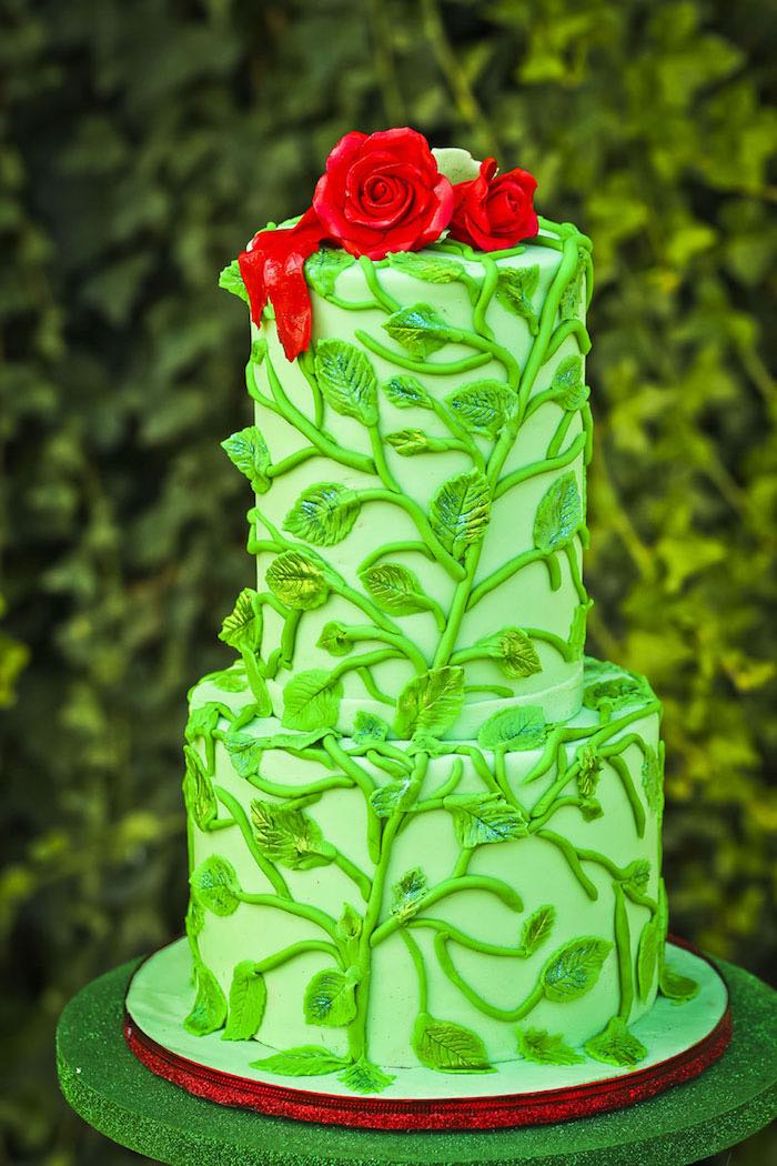 Cake from a Poison Ivy Birthday Party via Kara's Party Ideas | KarasPartyIdeas.com (24)