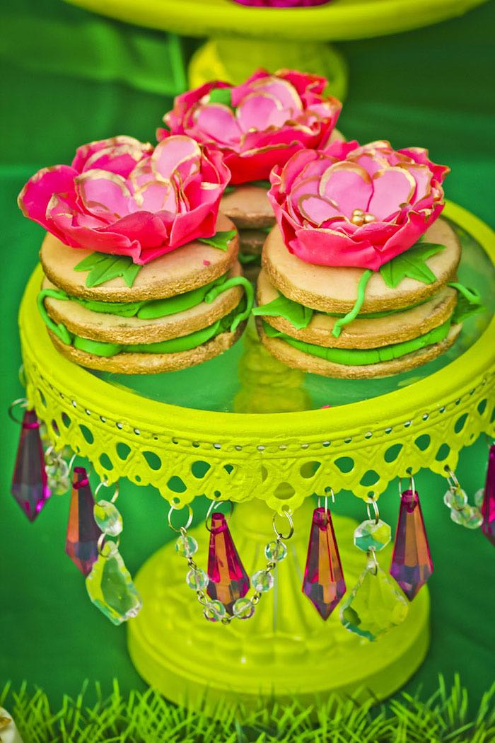 Stacked cookies from a Poison Ivy Birthday Party via Kara's Party Ideas | KarasPartyIdeas.com (19)