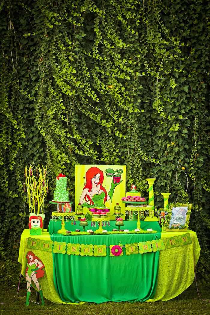 Dessert table from a Poison Ivy Birthday Party via Kara's Party Ideas | KarasPartyIdeas.com (17)