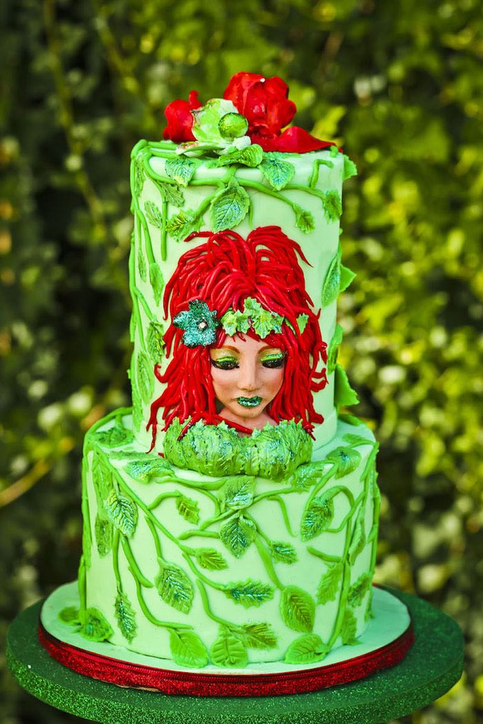 Cake from a Poison Ivy Birthday Party via Kara's Party Ideas | KarasPartyIdeas.com (36)
