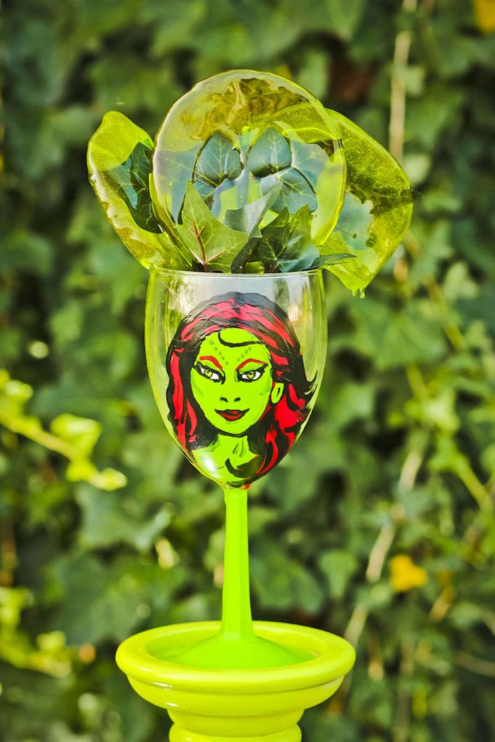 Poison Ivy cup from a Poison Ivy Birthday Party via Kara's Party Ideas | KarasPartyIdeas.com (35)