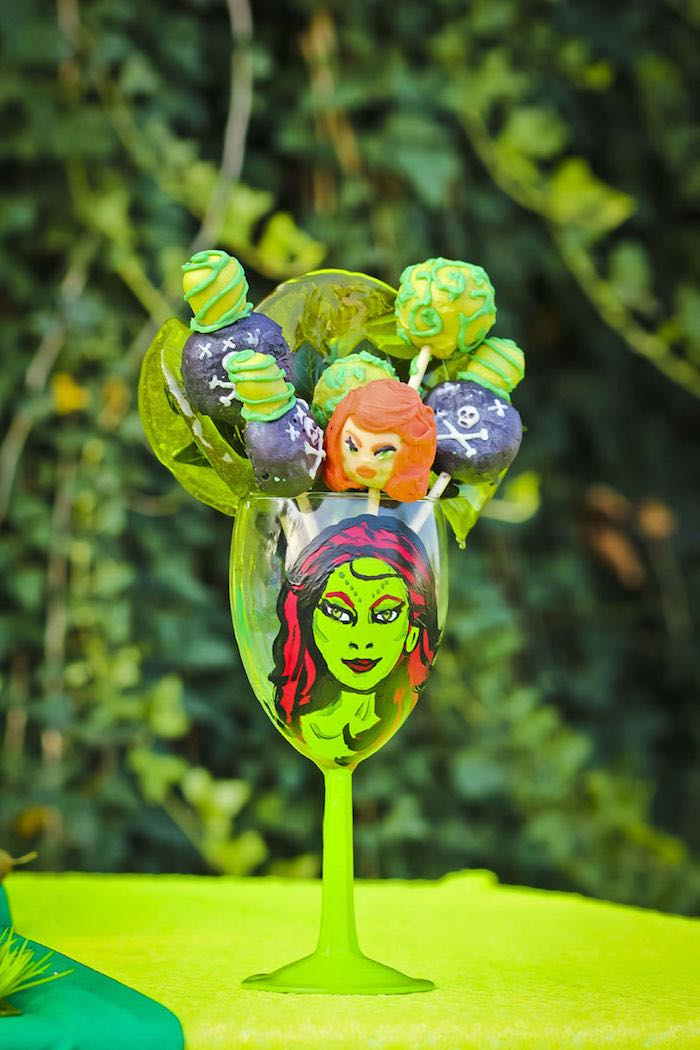 Cake pops from a Poison Ivy Birthday Party via Kara's Party Ideas | KarasPartyIdeas.com (34)