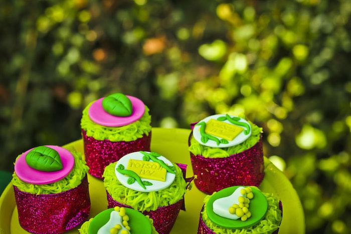 Cupcakes from a Poison Ivy Birthday Party via Kara's Party Ideas | KarasPartyIdeas.com (33)