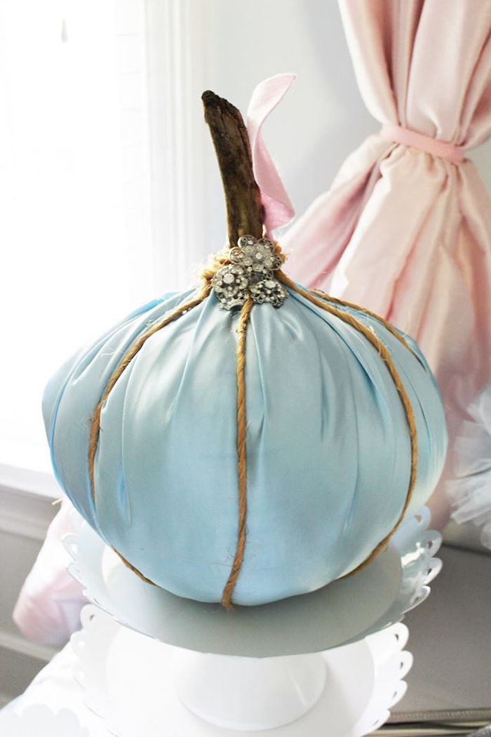Cinderella-inspired satin pumpkin from a Princess Cinderella Birthday Party via Kara's Party Ideas | KarasPartyIdeas.com (18)