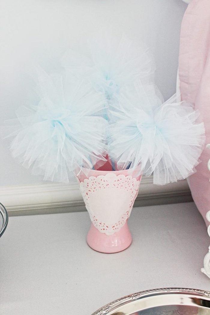 Tulle pom pom wands from a Princess Cinderella Birthday Party via Kara's Party Ideas | KarasPartyIdeas.com (9)