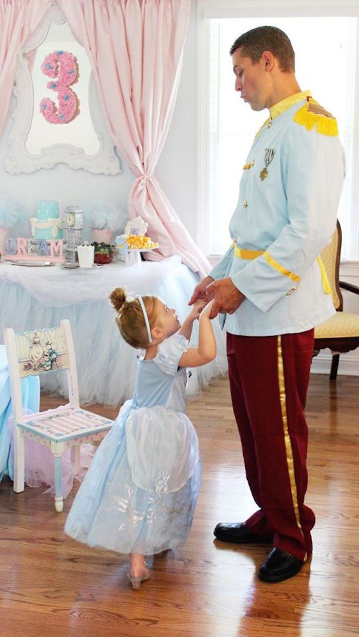 Cinderella dancing with her Prince Charming from a Princess Cinderella Birthday Party via Kara's Party Ideas | KarasPartyIdeas.com (3)
