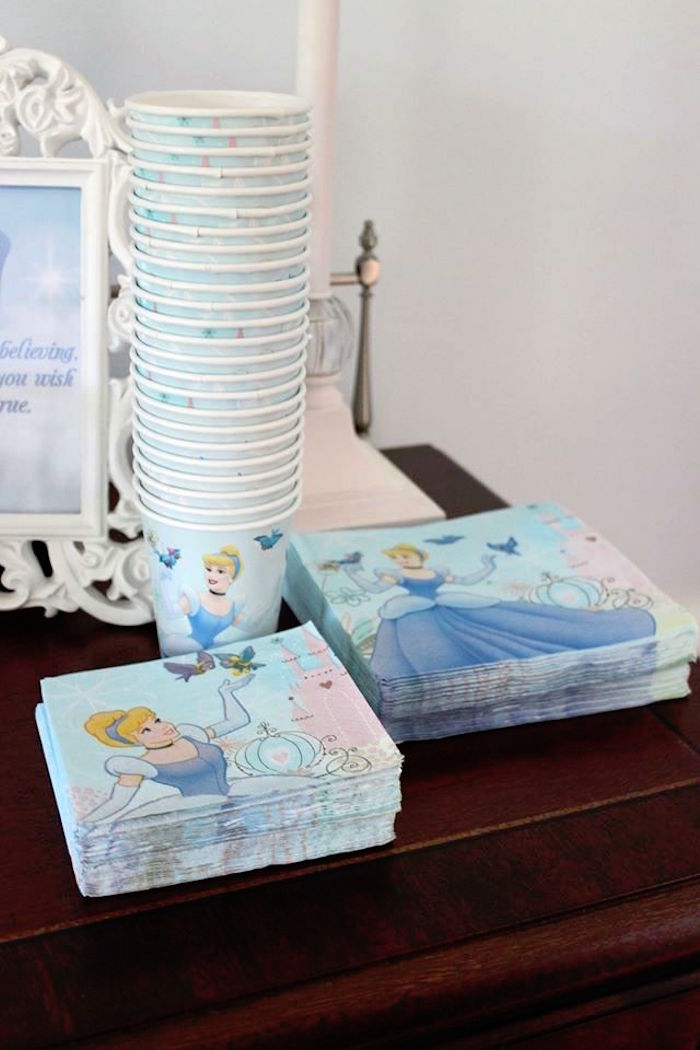 Cinderella napkins + cups from a Princess Cinderella Birthday Party via Kara's Party Ideas | KarasPartyIdeas.com (39)