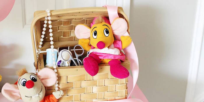 Sewing basket decoration from a Princess Cinderella Birthday Party via Kara's Party Ideas | KarasPartyIdeas.com (1)
